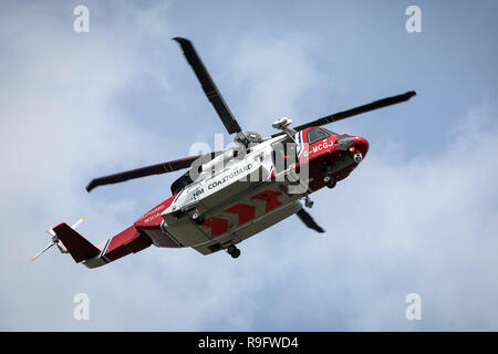 The Coastguard search and rescue helicopter based at Caernarfon in north Wales - Stock Photo