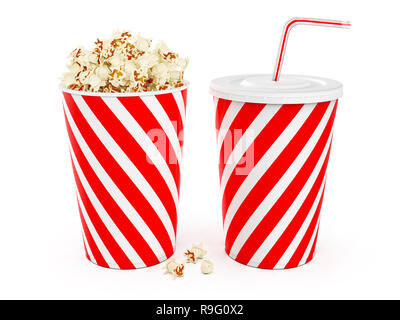 Popcorn in striped bucket with cola in takeaway cup isolated on white background, 3D rendering - Stock Photo