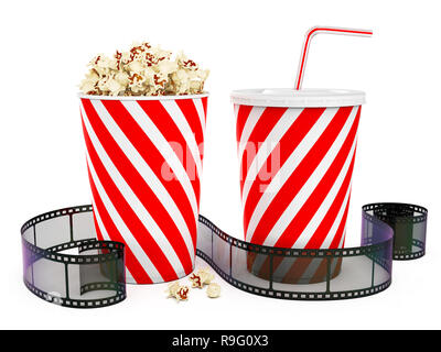 Popcorn in striped bucket with cola in takeaway cup and film reel isolated on white background, 3D rendering - Stock Photo