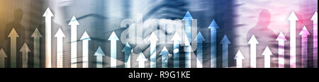 Financial growth arrows on blurred background. Business, Investment, Trading concept. Website header banner. - Stock Photo