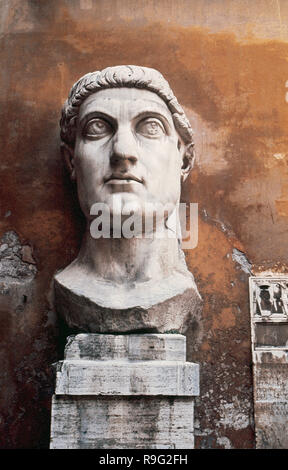 Constantine the Great (Flavius Valerius Aurelius Constantinus Augustus) (272-337). Roman Emperor from 306-337. Know for being the first roman emperor to convert to christianity. Head of Constantine's colossal statue at the Capitoline Museums. Rome. Italy. - Stock Photo