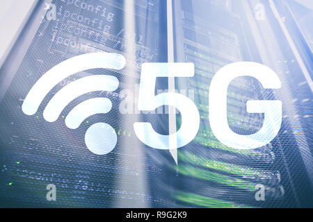 5G Fast Wireless internet connection Communication Mobile Technology concept. - Stock Photo