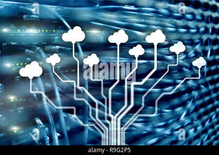 Cloud technology, networking, data storage. Internet concept.
