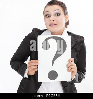 confused business woman showing a question mark. - Stock Photo