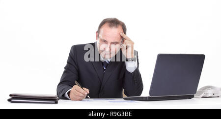 close up. thoughtful businessman in the workplace - Stock Photo