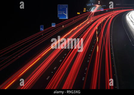 Motorway light trails - Stock Photo
