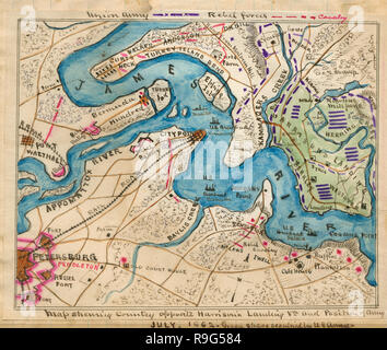 Map Of Harrison S Landing James River Virginia Stock Photo