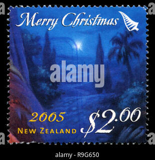 Postage stamp from New Zealand in the Christmas 2005 series - Stock Photo