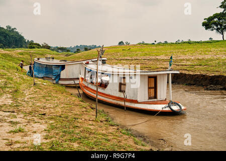 Boca de valeria, Brazil - December 03, 2015: two boats on river water on natural background. Travel and travelling concept - Stock Photo