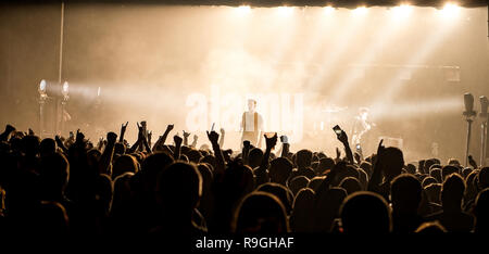 Motherwell, Scotland, UK. 23rd December, 2018. Motherwell band The LaFontaines tear apart the Civic Centre Concert Hall on their homecoming gig. Credit: Stuart Westwood/Alamy Live News - Stock Photo