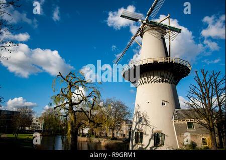 Windmill De Drie Koornbloemen in Schiedam, The Netherlands - Stock Photo