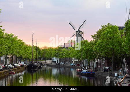 Scenic sunset view of the city center of Schiedam, Netherlands - Stock Photo