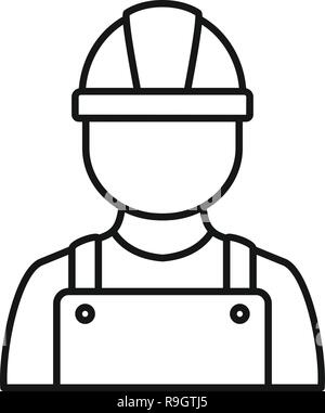 Construction man icon. Outline construction man vector icon for web design isolated on white background - Stock Photo