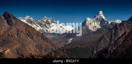Nepal, Everest Base Camp Trek, panoramic view of Everest and surrounding mountains from above Khumjung - Stock Photo