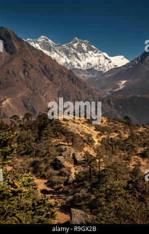 Nepal, Everest Base Camp Trek, view of Mount Everest and Lhotse from Everest View Hotel - Stock Photo