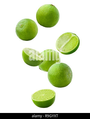 Falling lime isolated on white background, clipping path, full depth of field - Stock Photo