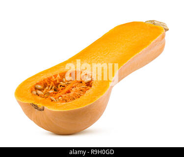pumpkin butternut squash isolated on white background, clipping path, full depth of field - Stock Photo