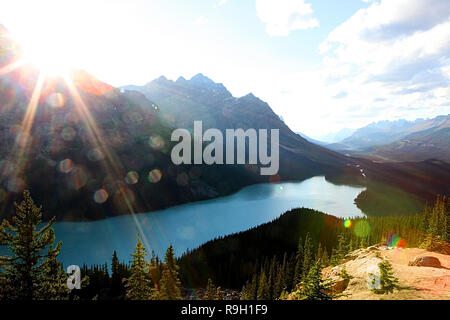 Peyto Lake is a glacier-fed lake in Banff National Park in the Canadian Rockies along the Icefields Parkway, Alberta Highway #93. - Stock Photo