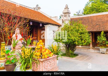 Small square in the One Pillar Pagoda, Hanoi in Vietnam - Stock Photo