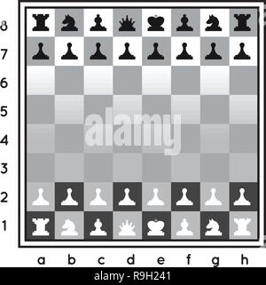 Chess set vector illustration on white background with a chessboard - Stock Photo