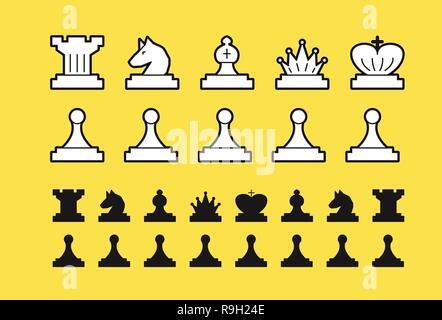 Chess set vector illustration on white background - Stock Photo