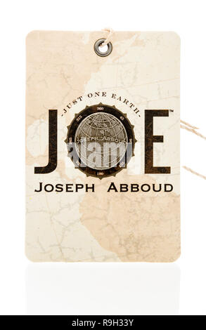 Winneconne, WI - 10 December 2018: A Joseph Abboud clothes tag on an isolated background. - Stock Photo