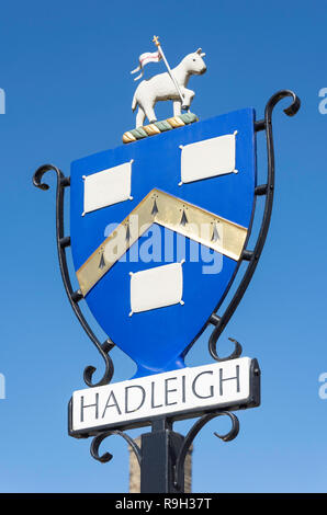 Town sign, Market Place, Hadleigh, Suffolk, England, United Kingdom - Stock Photo
