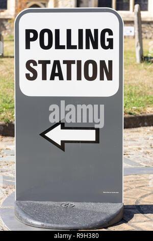 Polling Station sign, Church Street, Hadleigh, Suffolk, England, United Kingdom - Stock Photo