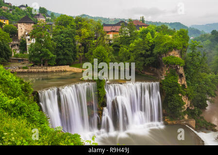Waterfall in the old town, Jajce, Bosnia and Herzegovina - Stock Photo