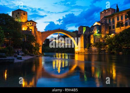Night view of Stari Most (Old Bridge) over Neretva River, UNESCO World Heritage site, Mostar, Bosnia and Herzegovina - Stock Photo