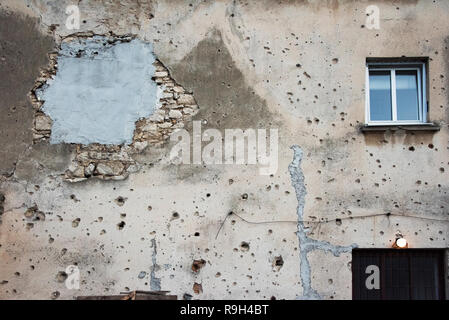 Old house with bullet holes, Mostar, Bosnia and Herzegovina - Stock Photo