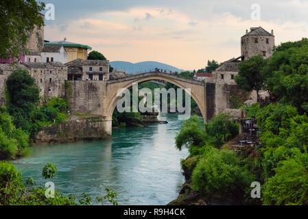 Stari Most (Old Bridge) over Neretva River, UNESCO World Heritage site, Mostar, Bosnia and Herzegovina - Stock Photo