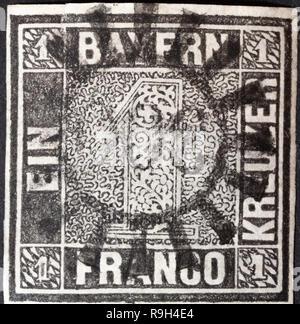 1849 - First German stamp - Bavaria - first stamp bavaria - Stock Photo