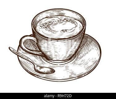 Hand Drawn Cup (mug) of hot drink (coffee, tea etc). Cup isolated on white background. tea cup, coffee cup vector - Stock Photo