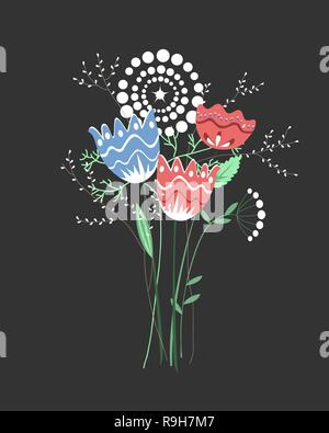 Beautiful fantasy bouquet with hand drawn flowers, plants, branches. Bright colorful vector illustration - Stock Photo