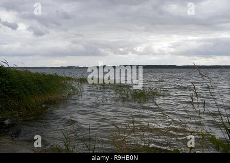 Rough weather on Lake Plauer See on midday - Stock Photo