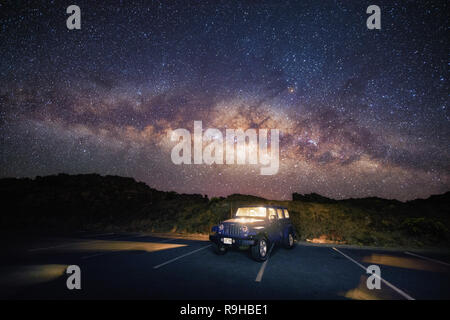 Milky Way photos road trip Jeep Hawaii - Stock Photo