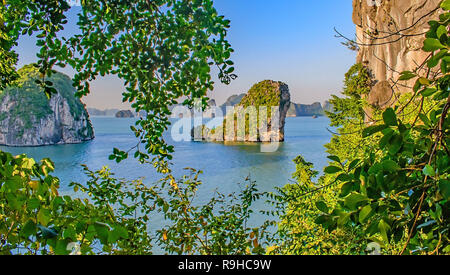 A view across the karsts of Halong Bay taken from inside Thein Son Cave November 2018 - Stock Photo