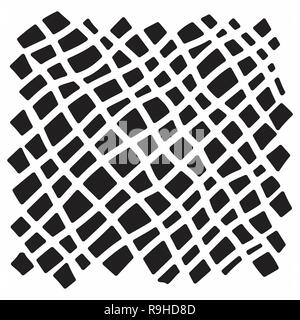 Modern handdrawn diagonal checkered pattern. Messy striped ornament with black hand painted strokes on white background. Stylish vector design for fab - Stock Photo