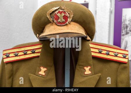 Military Army uniform Bunk'Art nuclear bunker Tirana Albania - Stock Photo