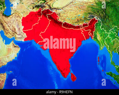 South Asia from space on model of planet Earth with country borders and very detailed planet surface. 3D illustration. Elements of this image furnishe - Stock Photo