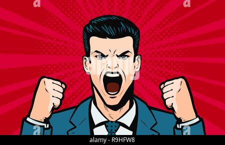 Man screaming loudly. Cartoon in pop art retro comic style, vector illustration - Stock Photo