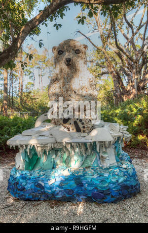 Naples, Florida, USA – December 23, 2018: Daisy the Polar Bear Sculpture made of garbage found in the ocean as part of the Washed Ashore art exhibit a - Stock Photo