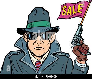 spy secret agent start sales. isolate on white background - Stock Photo