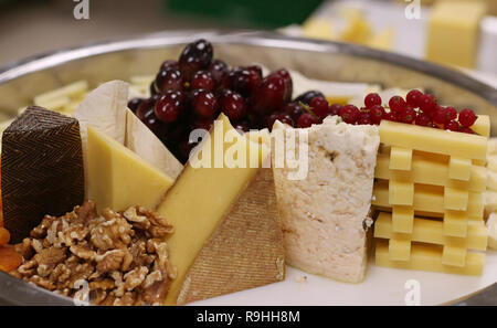 assorted cheese platter - Stock Photo