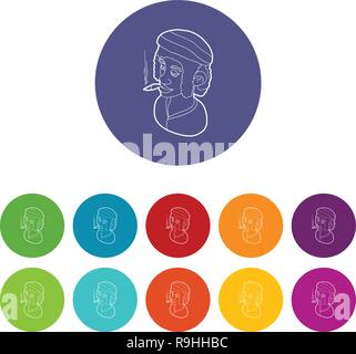 Rastafarian man wearing headband and smoking icons set vector color - Stock Photo