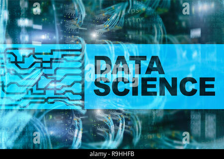 Data science, business, internet and technology concept on server room background. - Stock Photo