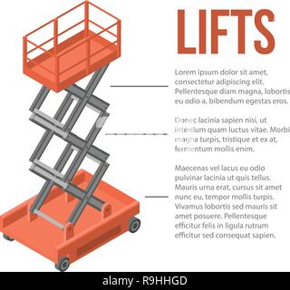 Lift cart stand concept background, isometric style - Stock Photo