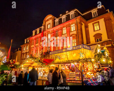 Christmas market at the market place in Heidelberg, Baden-Wurttemberg, Germany, Europe - Stock Photo