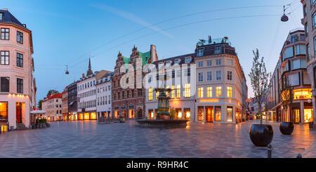 Stroget street, Amagertorv, Copenhagen, Denmark - Stock Photo